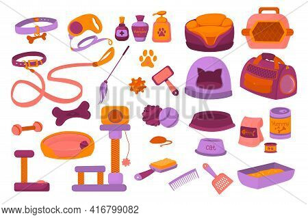 Vector Set Of Accessories For Pets. Soap Accessories For Cats And Dogs Isolated On White Background.