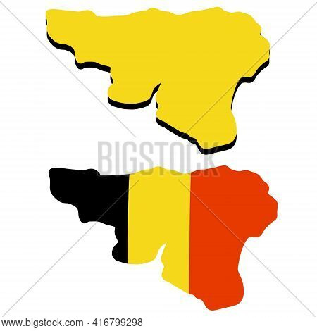 Map Of Wallonia. Region And Flag Of Belgium. Geography Of Europe. State National Symbol. Flat Cartoo