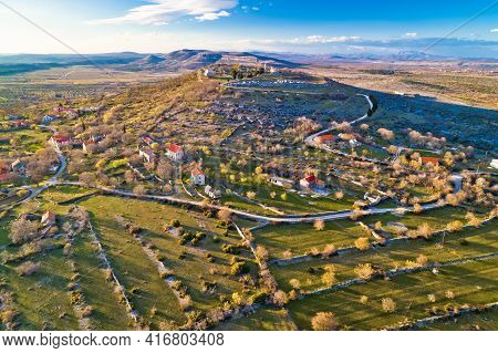 Aerial View Of Bribirska Glavica Historic Town On The Hill Ruins, Dalmatia Hinterland Region Of Croa