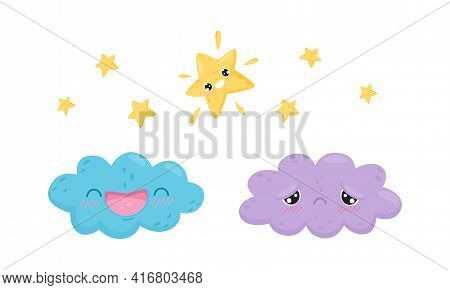 Cartoon Cloud And Star Laughing And Feeling Sad Vector Set