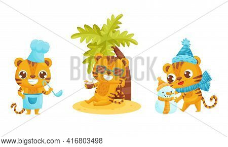 Cute Striped Tiger Cooking, Drinking Cocktail On Beach And Building Snowman Vector Set
