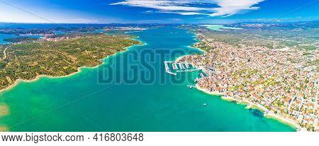 Adriatic Town Of Pirovac And Murter Island Panoramic Aerial View, Dalmatia Region Of Croatia