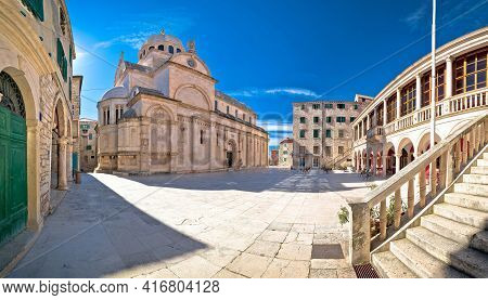 Town Of Sibenik Cathedral Of St James Square Panorama, Unesco World Heritage Site, Dalmatia Region O