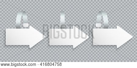 White Realistic Blank Advertising Wobblers Isolated On Transparent Background. Arrow Wobbler Paper S