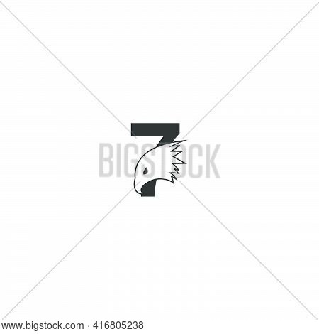 Number 7 Logo Icon With Falcon Head Design Symbol Template Vector