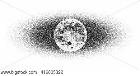 Dotwork Earth Day Pattern Vector Background. Sand Grain Effect. Black Noise Stipple Dots Planet. Abs