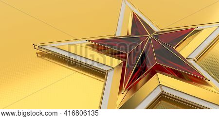 Ruby Gold Star On A Matte Background