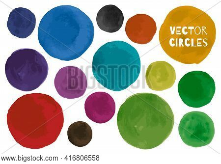 Vector Water Colour Circle. Isolated Splash Splatter. Ink Rounds On Paper. Water Colour Circle. Circ