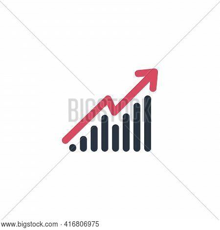 Illustration Of Arrow Growing Upward, Growth Process, Success Diagram, Marketing Chart. Stock Vector