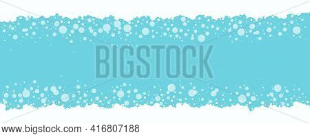 Soap Bubbles And Foam Vector, Fizz Water Blue Background. White Suds Pattern. Abstract Color Illustr