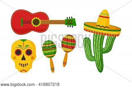 Cinco De Mayo Vector Celebration, Mexican Icon Set. Guitar, Maracas, Skull, Sombrero, Cactus Isolate