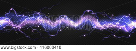 Realistic Lightning Powerful Discharge On Dark Background. Electric Wave From Side To Side. Thunder