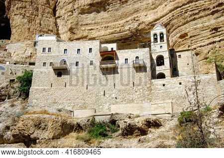 St. George Orthodox Monastery, Located In Wadi Qelt, In The Eastern West Bank, In The Palestinian Te