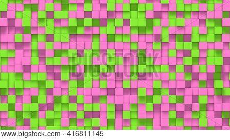 Pink Green Small Box Cube Random Geometric Background. Abstract Square Pixel Mosaic Illustration. La