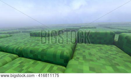 3D Abstract Cubes. Geometric Mosaic Waves Pattern. Construction Of Hills Landscape Using Green Grass