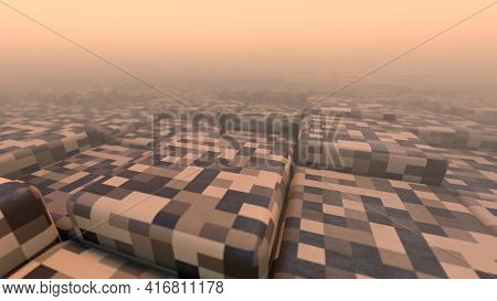 3D Abstract Cubes. Geometric Mosaic Waves Pattern. Construction Of Hills Landscape Using Brown Block