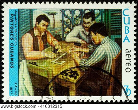 Moscow, Russia - April 12, 2021: Stamp Printed In Cuba, Shows Painting Domino Players By Jorge Arche