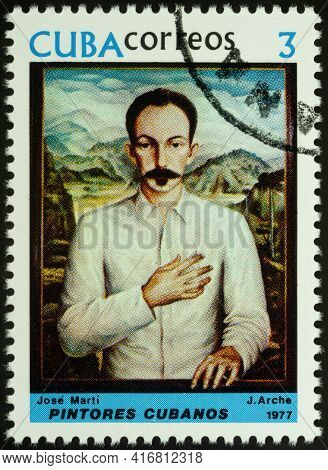 Moscow, Russia - April 12, 2021: Stamp Printed In Cuba, Shows Portrait Of Jose Marti, Apostle Of Cub