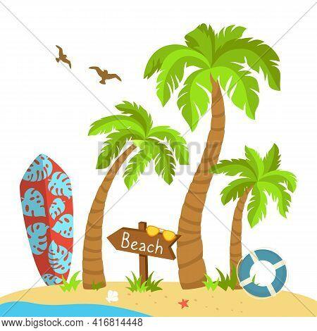 Tropical Beach Flat Cartoon Island, Surfboard. Palm Trees And Seagulls, Sea Sand, Ocean Lifebuoy, Wo