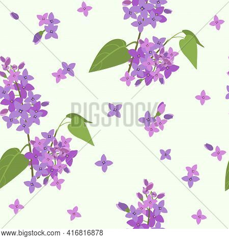 Seamless Vector Pattern With Branches Of Blooming Lilacs And Individual Flowers On A Gentle Green Ba