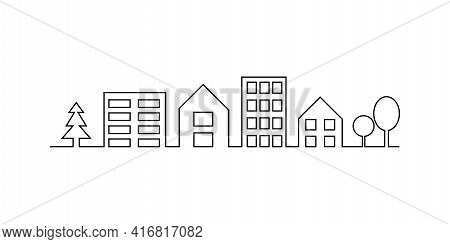 Line Art With House In One Line. Creative Line Art Illustration, Outline Sketch. Stock Image. Vector