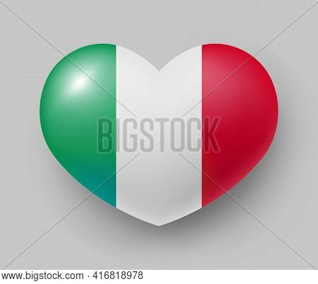 Heart Shaped Glossy National Flag Of Italy. European Country National Flag Button, Italian Symbol In