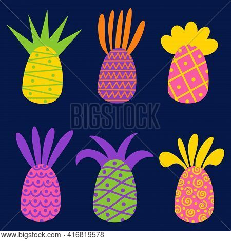 Set Of Bright Pineapples With Ornaments. Vector Icons With Pineapples. Isolated Fruits On A Blue Bac