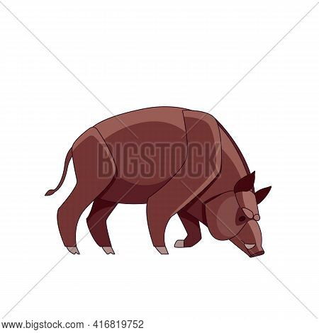Boar Pigs Cartoon Character. Cute Piglets Together. Baby Pigs In Cute Posture. Vector Illustration I