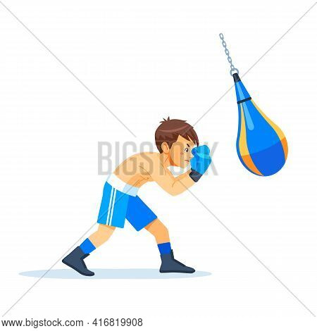 Boxer Kid With Bags Of Sand Boxing. Fitness, Sport, Exercise, Will Power And The Concept Of Lifestyl