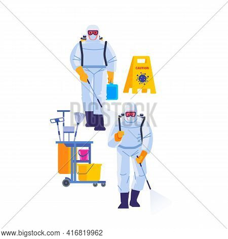 Covid-19 Coronavirus Disinfect. Disinfecting Workers Wear Protective Masks And Spacesuits Against Pa