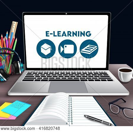 E-learning Online School Vector Banner Design. E-learning Text In Laptop Device With Educational Too