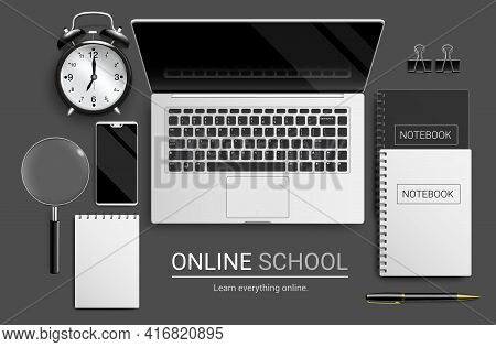 Online School Vector Banner Design. Online School Text With Laptop, Phone And Notebook Educational D