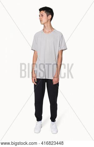 Gray basic t-shirt for boys' youth apparel studio shoot