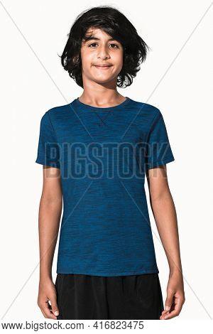 Blue basic t-shirt for boys teen's apparel studio shoot