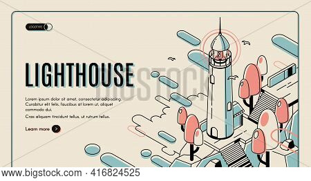 Lighthouse Building And Seagulls On Retro Colored Background. Nautical Theme Banner, Marine Logistic