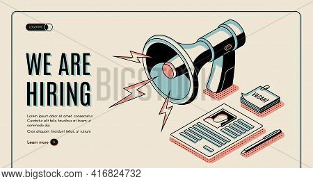 Hiring Agency, Job Vacancies Search Online Service Isometric Vector Web Banner, Landing Page Templat