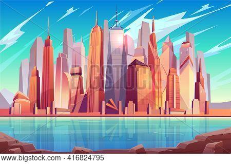 Future Metropolis Downtown, Modern City Business Center Cartoon Vector Background With Futuristic Ar