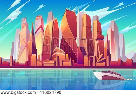 Moscow City Skyline Cartoon Vector Panoramic Background With International Business Center Complex F