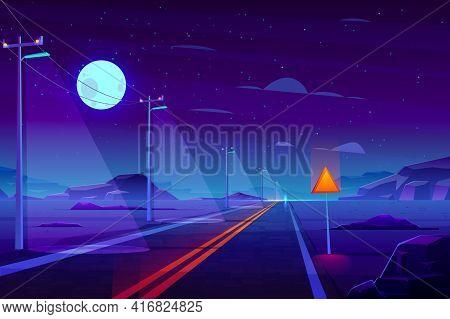 Illuminated At Night, Empty Highway Road In Dessert Cartoon Vector. Row Of Power Line Pillars With L