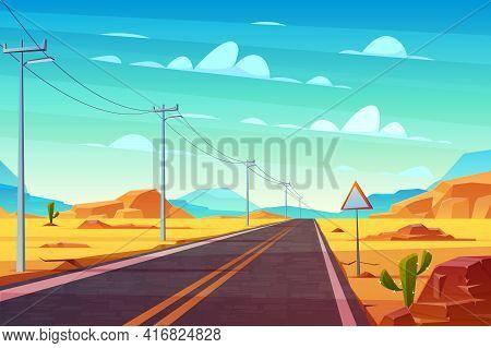 Empty Highway Road In Desert, Going Far To Horizon Cartoon Vector. Two Line Path, Power Line Pillars