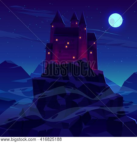 Mysterious Medieval Castle With Stone Towers Spires Illuminated Torches Fire And Glowing In Night Wi