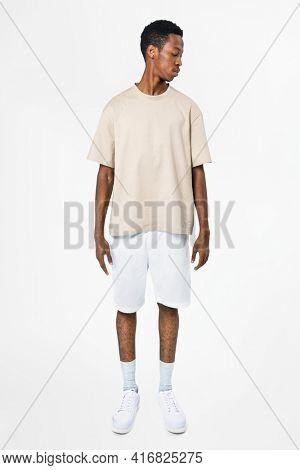 Beige t-shirt and shorts men's basic wear full body