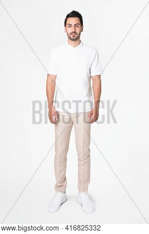 White polo shirt men's casual business wear full body