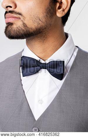Gray vest suit business menswear apparel shoot