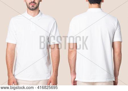 White polo shirt men's casual business wear rear view
