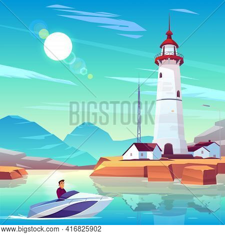 Lighthouse In Harbor And Powerboat With Man Passing By Dwellings And Tower Stand On Rocky Coast At S