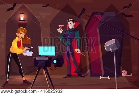 Filming Movie Or Clip About Count Dracula Cartoon Vector Concept. Actor In Vampire Costume Standing