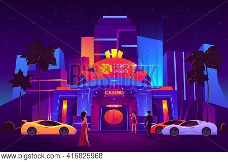 Luxury Casino Entrance In Tropical Resort City Cartoon Vector. Man In Business Suit, Women In Evenin
