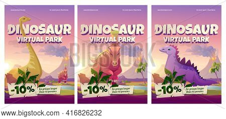 Dinosaur Virtual Park Cartoon Posters, Historical Online Museum Visit Promo With Discount For Large