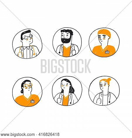 Medical Avatars Set . Medical Clinic Staff Doodle Avatars. Icon